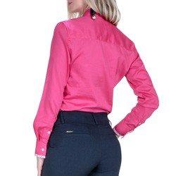 detalhe camisa pink feminina social principessa cecilia tecido floral modelagem