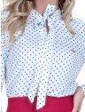 camisa social feminina manu com laco branca poa manga flare detalhe