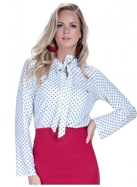 camisa social feminina manu com laco branca poa manga flare look