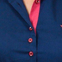 camisa social com elastano marinho principessa laurita botao triplo busto