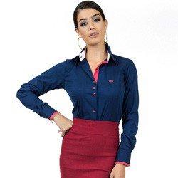 camisa social com elastano marinho principessa laurita look detalhes