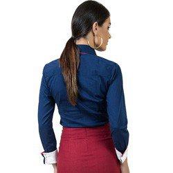 camisa social com elastano marinho principessa laurita look modelagem