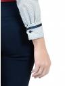 camisa social azul de poa principessa mariah detalhes cetim punho