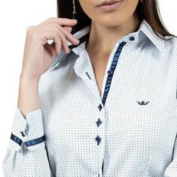 camisa social azul de poa principessa mariah detalhe acabamentos