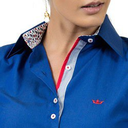 camisa feminina social azul principessa marlize detalhe compose
