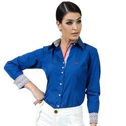 camisa feminina social azul principessa marlize detalhe look