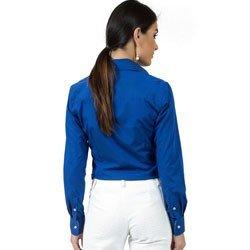 camisa feminina social azul principessa marlize detalhe modelagem