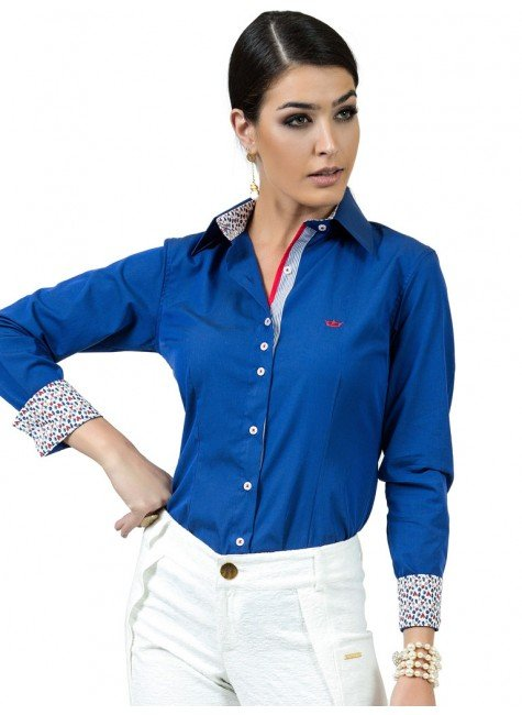 camisa feminina social azul principessa marlize look