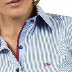detalhe camisa feminina premium principessa cleusa colarinho