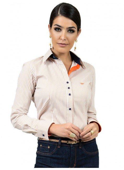camisa listrada com elastano principessa fernanda look