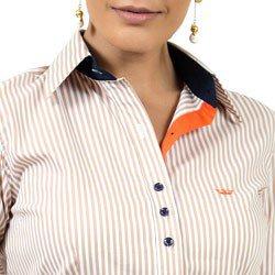 camisa listrada com elastano principessa fernanda detalhes colarinho