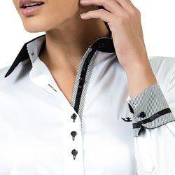 camisa social branca premium principessa gisele detalhe fita cetim