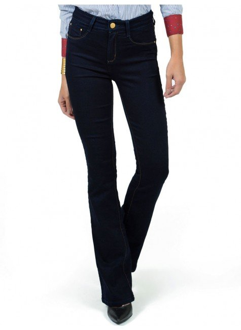 calca flare jeans escuro cintura alta dz2375 bolso costa look frente