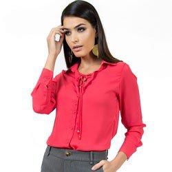 camisa com amarracao principessa rose look detalhe