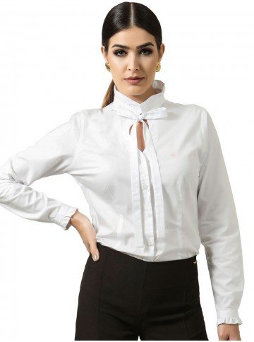 camisa branca com laco principessa perola look
