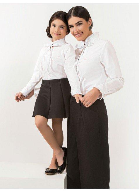 ... camisa branca com laco principessa perola look conceito tal mae tal  filha db2b4c0e5a135