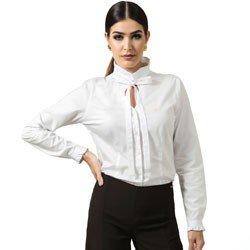 camisa branca com laco principessa perola detalhe look