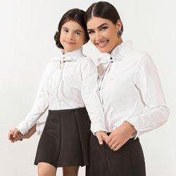 camisa branca com laco principessa perola tal mae tal filha