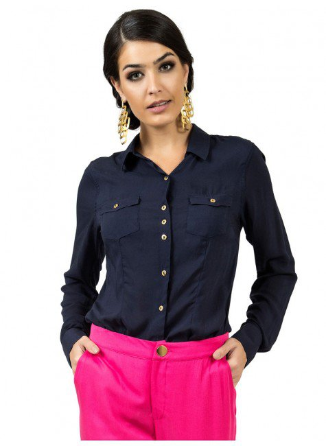 camisa social marinho principessa izabel look