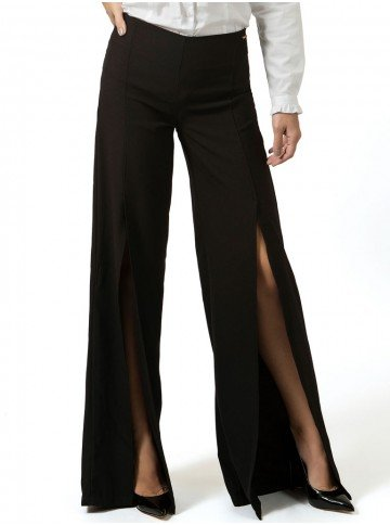 calca pantalona com fenda preta principessa rosangela look
