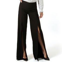 detalhe calca pantalona com fenda preta principessa rosangela look