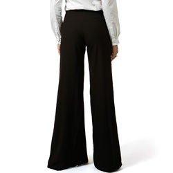 detalhe calca pantalona com fenda preta principessa rosangela modelagem