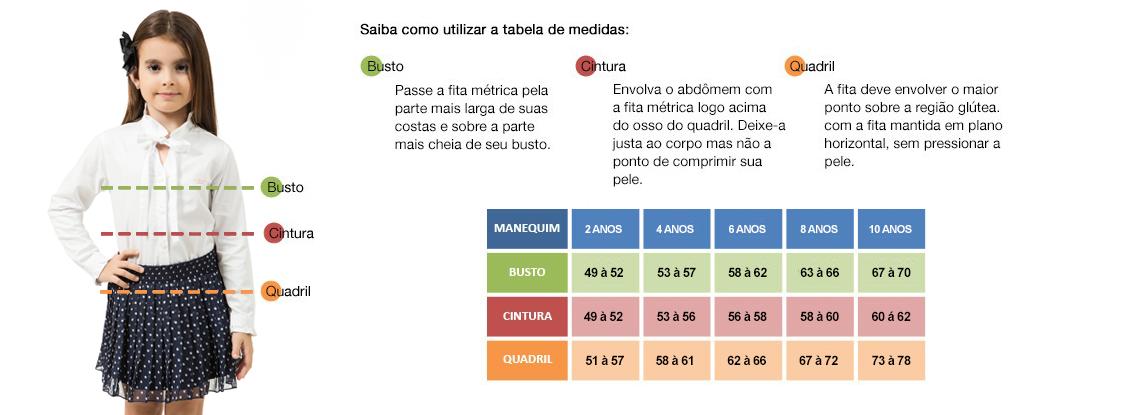 tabela medidas infantil