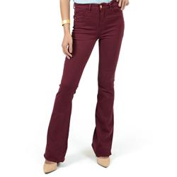 detalhes calca jeans flare cintura burgundy dz2459