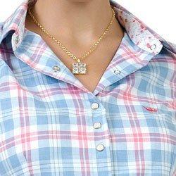 camisa xadrez com amarracao principessa flaviane punho floral detalhe