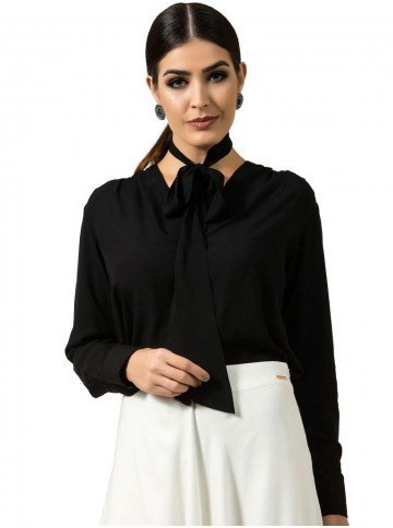 camisa com laco avulso preta principessa cibele look
