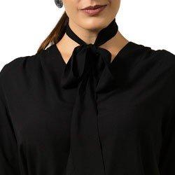 detalhe camisa feminina social com laco na gola