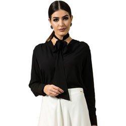 detalhe camisa feminina social com laco na gola look