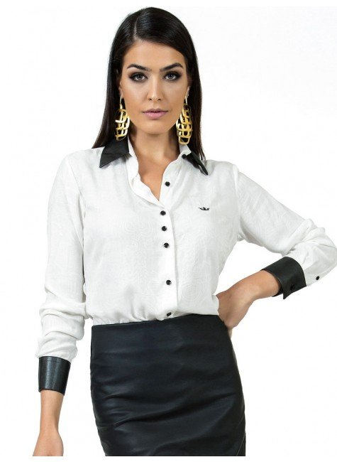 camisa feminina off white principessa solange punho de couro look