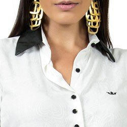 camisa feminina off white principessa solange punho de couro detalhe