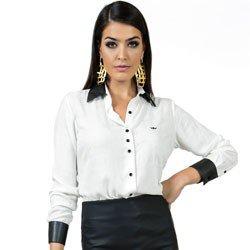 camisa feminina off white principessa solange punho de couro detalhe look