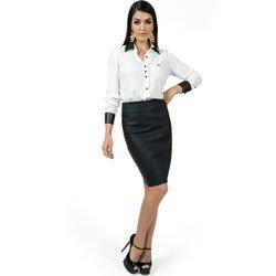 camisa feminina off white principessa solange punho de couro detalhe look completo