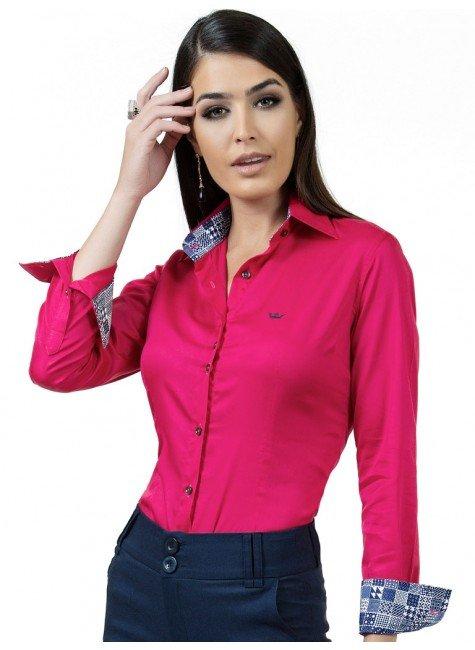 camisa social feminina fio egipcio pink principessa danny look