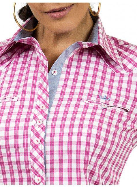 ... camisa xadrez rosa principessa debora logo ... 9a5ffb81151c3