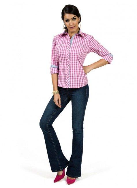 ... camisa xadrez rosa principessa debora look completo ... 0006e1ed8f23b