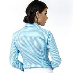 detalhe camisa premium listrada azul principessa jennifer tecido