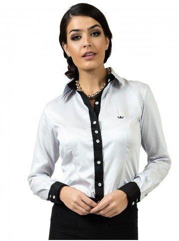 camisa feminina social principessa nicola prata