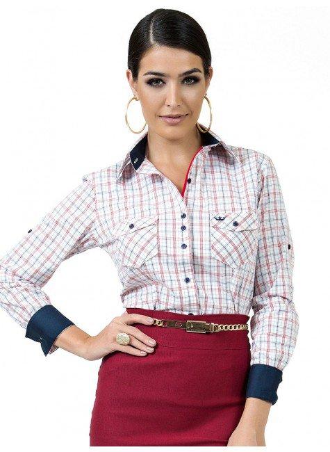 camisa feminina social xadrez principessa edina