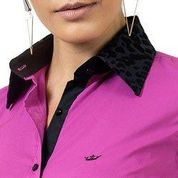 detalhe camisa com elastano principessa gloria maria animal print