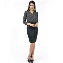 detalhe blusa preta estampada principessa berenice completo