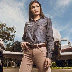 detalhe camisa feminina jeans princioessa pedrita look conceito