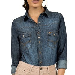 detalhe camisa feminina jeans princioessa pedrita tecido recorte
