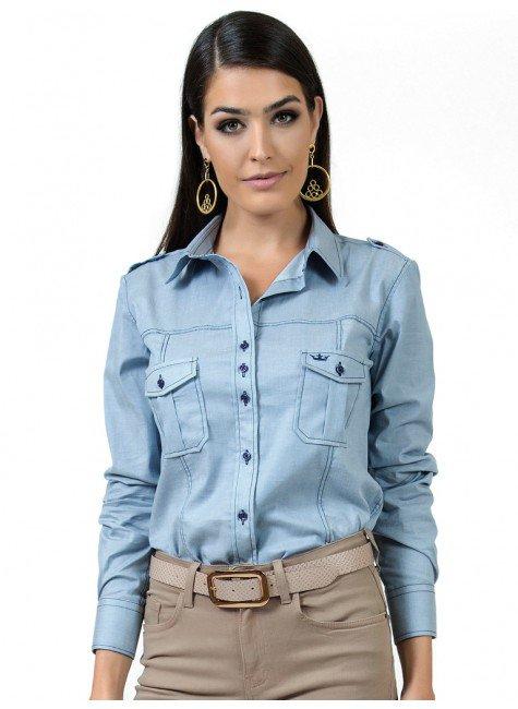 camisa jeans claro esporte feminina principessa livia look