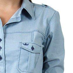 detalhe camisa jeans claro esporte feminina principessa livia bolsos
