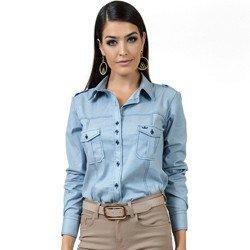detalhe camisa jeans claro esporte feminina principessa livia look