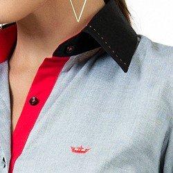 detalhe camisa maquinetada premium cinza feminina principessa joana colarinho